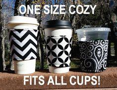 Coffee cozy / cup sleeve / coffee sleeve / coffee koozie / resuable coffee cup holder / teacher gift / Black + White + Whatever You Like!