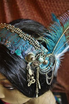 Tribal Fusion Headpiece Blue Skies Bellydance von theverdantmuse