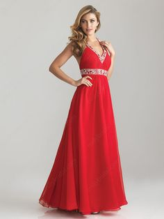 A-line Halter Chiffon Ankle-length Red Beading Prom Dresses at Millybridal.com