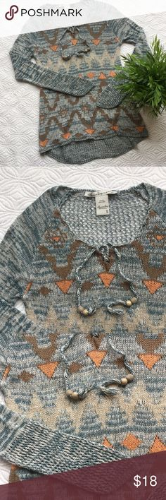 "American Rag sweater This sweater is perfect for fall! Size S. Open weave on the back & ends of sleeves. Armpit to armpit approx. 15"". Length from back of neck is approx. 25"". Longer back than front. Can't tell if there is a pull on the front or just looser weave. See last pic. American Rag Sweaters"