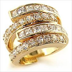 12mm Wide Split Band Princess and Brilliant cut Ring Gold plated