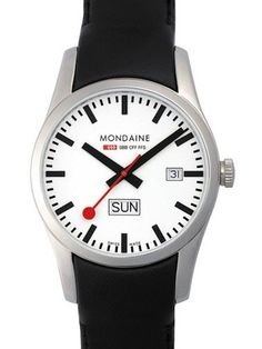 Buy Mondaine Unisex Sport Line Leather Strap Watch, Black/White from our Men's Watches range at John Lewis & Partners. Watches Online, Stainless Steel Case, Diamond Engagement Rings, Watches For Men, Black Leather, Wedding Rings, Jewels, Unisex, Accessories