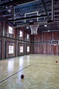 Old barn turned into a basketball court.....totally cool!