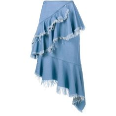 Marques Almeida Frayed Denim Frill Skirt (2.010 RON) ❤ liked on Polyvore featuring skirts, blue, ruffle skirt, denim ruffle skirt, flouncy skirt, panel skirt and summer skirts