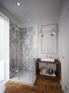 Modern fürdőszoba virágmintás csempe
