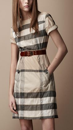 Burberry - CRINKLE COTTON CHECK DRESS