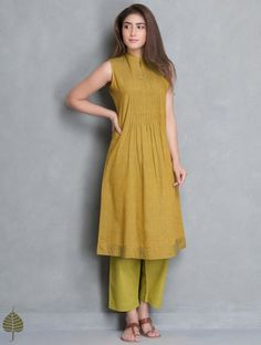 Green-Mustard Rust Pintuck Neck Sleeveless Mangalgiri Kurta by Jaypore