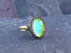 Brass Mood Ring with Crown Bezel 14x10mm Locking by theknottedgem, $19.00