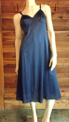 Vintage Lingerie 1970 VANITY FAIR Navy Blue Size 34 Full Slip by ReallyCoolClothes on Etsy
