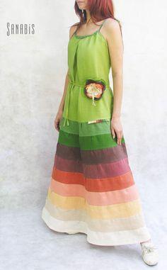 "Купить Льняной сарафан ""Цвет папоротника"" - платье, сарафан, сарафан летний, зеленый, бусы зеленые"