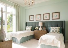 Adorable Shared Bedroom Design With Double Twin Bed Platform Along With Sculptured Pendant Lamp Shade And Compact Oak Chest Of Drawer And Extensive Bay Window Wallpaper Luxurious Silk Tufted Headboard Ideas equipped with Stunning Bedding Set Image Bedroom Wallpaper. Interior House Design Ideas