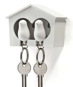 Look at this #zulilyfind! White Duo Sparrow Three-Piece Key Ring & Holder Set by Qualy #zulilyfinds