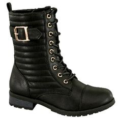 Black Lace up Combat Quilted Ankle Boots with buckled strap decor #cutesyoriginals