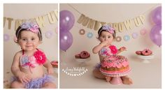 Gwendolyn's first birthday cake smash ... donut grow up by linsey wakefield photography
