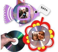 cd picture frames- many patterns Cd Crafts, Recycled Crafts, Fall Crafts, Fathers Day Crafts, Happy Fathers Day, Learning Tips, Diy For Kids, Crafts For Kids, Photo Frames For Kids