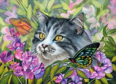 Cat art, cat paintings, butterfly art by noted painter Denise Freeman