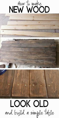Vintage Industrial Decor Build a Rustic Sofa Table and how to make new wood look old, barn wood DIY - Techniques for making new wood look old for that farmhouse look. Also, how to build a simple table even if don't really know how to build furniture.