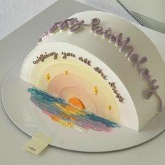 Pretty Birthday Cakes, Pretty Cakes, Beautiful Cakes, Mini Cakes, Cupcake Cakes, Cupcakes, Simple Cake Designs, Simple Birthday Cake Designs, Korean Cake