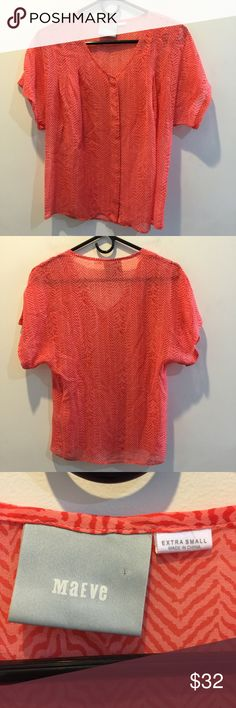 Maeve Anthropologie Chevron Sheer Shirt Blouse Maeve Anthropologie shirt - orange and chevron printed- super cute and size extra small Anthropologie Tops Blouses