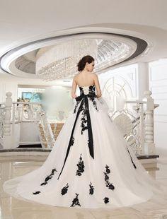 Black Applique Sash Tulle White and Black Bridal Gowns Wedding Dress Custom Size | eBay