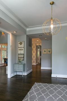 Paint color is Benjamin Moore Nimbus.. Chevy Chase Residence - contemporary - Hall - Dc Metro - Heather ODonovan Interior Design