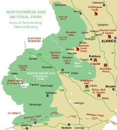 Map of Northumberland National Park Northumberland National Park, Alnwick Castle, Castle Ruins, Great Britain, National Parks, Map, Travel, Places, Viajes