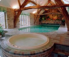 A Well-Accented Pleasant Indoor Pool Design #beautiful #lovely #awesome #pool #design // #interiordesign