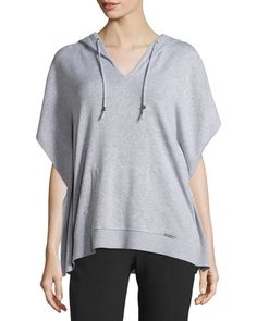 TC4WT MICHAEL Michael Kors Hooded Short-Sleeve Poncho Sweater, Pearl Heather