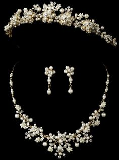 Gold plated Pearl Bouquet Floral Wedding Tiara and Jewelry Set - Affordable Elegance Bridal -