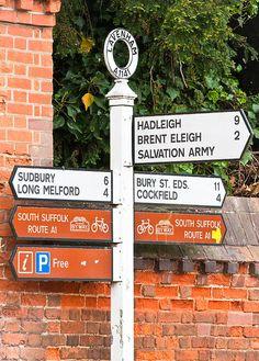 Street signs in Lavenham, Suffolk, England, UK Suffolk Coast, Suffolk England, Essex England, England Uk, Sudbury Suffolk, Fence Signs, City Branding, Great Yarmouth, London Map