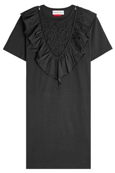 Sonia Rykiel Cotton Dress with Ruffled Lace Panel