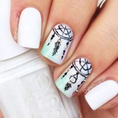 Dream catcher charming nails come in when you think that you have already tried it all and there is nothing you can think of for your next mani. The thing is that dream catcher not only looks myste… Acrylic Nail Designs, Nail Art Designs, Acrylic Nails, Elegant Nail Art, Trendy Nail Art, Acrylic White Tips, Dream Catcher Nails, Dream Catchers, Wedding Nails Design