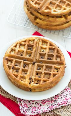 Healthy Chocolate Chip Waffles - a healthier waffle that the whole family will love!