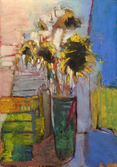 "Sunflowers in a Green Vase. 2016. Pastel, Oil, Dry Ground & Graphite. 23.1"" x 16.5."" Casey Klahn."