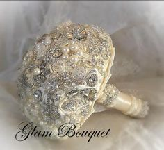 Simple Elegant Ivory and Silver Jeweled Bouquet - $575