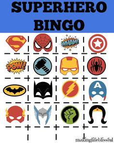 Superhero Printable Activity Pack - Batman Printables - Ideas of Batman Printables - FREE Superhero Bingo Printable. Superhero Preschool, Superhero Party Games, Superhero Kids, Superhero Birthday Party, Birthday Party Games, Birthday Crafts, Birthday Ideas, Spy Party, 4th Birthday