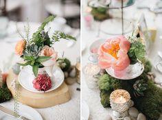 Moss and teacup centerpiece. Bohemian-vintage tea party wedding. Emily Wren photography. Venue: the Manor at Prophecy Creek Ambler, Pennsylvania