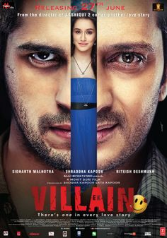 The first look poster of the upcoming romantic thriller bollywood film 'Ek Villain' is out today. The film starring Sidharth Malhotra, Reteish Deshmukh & Shraddha Kapoor in lead roles. The film is being directed by Mohit Suri and is being produced by. Movies To Watch Free, All Movies, Movies Online, Movies Box, Movies Free, Action Movies, Salman Khan, Indiana, Ek Villain