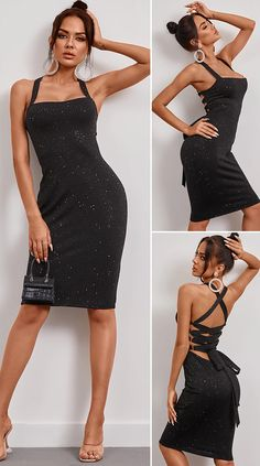Black Rhinestone Backless Criss-cross Lace-up Square Neck Sleeveless Dress HOT SALES 2020, beautiful dresses, pretty dresses, holiday fashion, dresses outfits, dress, cute dresses, clothes, classy & elegant, elegant style, mode trends 2020, trending, fashion, fashion looks, moda, women, beautiful, beauty, buy, sale, shop, shopping, vestidos elegantes, vestidos fofos, vestidos bonitos