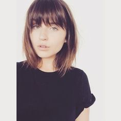 I like how these bangs are one length but jagged on the tips.