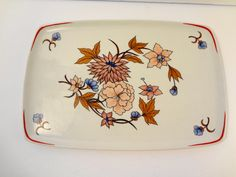 Hollohaza Hungary Floral Porcelain Rectangular Wall Plate / Tray - Vintage by TresTresInteressant on Etsy Plates On Wall, Ceramic Pottery, Hungary, Tray, Porcelain, Ceramics, Cool Stuff, Unique Jewelry, Tableware