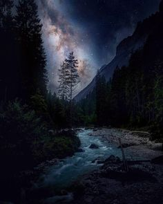 Beautiful Sky, Beautiful Landscapes, Beautiful Places, Night Photography, Landscape Photography, Nature Photography, Images Esthétiques, Sky Full Of Stars, Fantasy Landscape