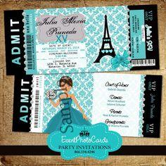 Teal Paris Eiffel Tower Invitations
