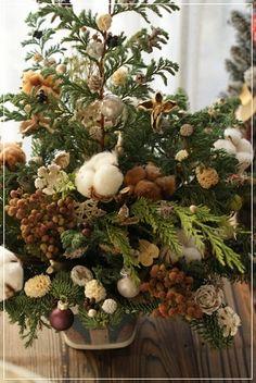 【今日の贈花】シックなクリスマスツリー&スワッグ