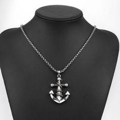 Moda Joyería de los hombres collar colgante de cadena de acero inoxidable Anclas fresco para el regalo GMYN052