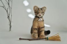 Needle Felted Cat American Short Hair Tabby by JanetsNeedleFelting, $45.00. Janet's Needle Felting & Crafts [Washington] - https://www.etsy.com/shop/JanetsNeedleFelting #tabby #tabbycat #cat