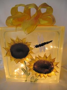 Hand painted sunflower lighted glass block.