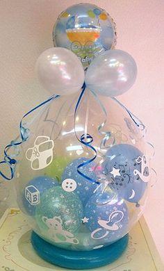 Centro de mesa de globos burbuja o rellenos para baby shower. #DecoracionBabyShower