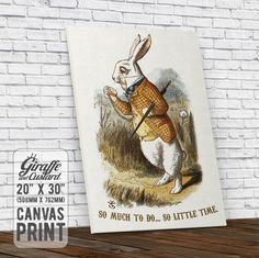 Alice in Wonderland Canvas Wall Art Print / White Rabbit Pocket Watch / 20 x 30 Inch / Vintage Art / Stretched on Frame Ready to Hang by GiraffeandCustard on Etsy