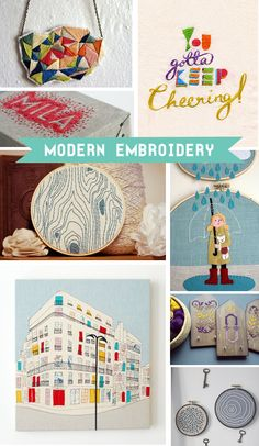 modern embroidery on design bright